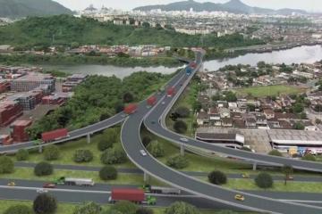Trecho da entrada de Santos é interditado para obras
